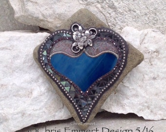 Blue /Purple Mosaic Rock, Gardener Gift, Home Decor, Mosaic Garden Stone