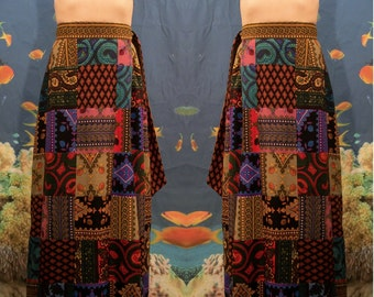 Wrap Maxi Charles Demery Patchwork Skirt, 70s