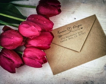 Personalized Wedding Address Stamp - Arrow - Heart - Handwritten Cursive Text Style - DIY Print - Housewarming - Wedding Gift Ideas - Unique