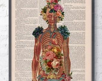 Summer Sale Flowery Body Girl power feminist collage Woman gift Medicine student gift Wall decor art, decor, Best friend  SKA115