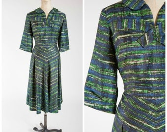 Vintage 1950s Dress • Meant to Be • Blue Green Mid Century Print 50s Day Dress Plus Size
