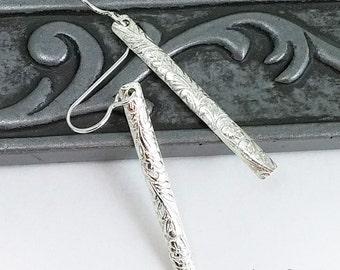 Long Sterling Silver Stick Earrings - Floral Earrings - Silver Dangle Earrings - Eco-friendly Jewelry
