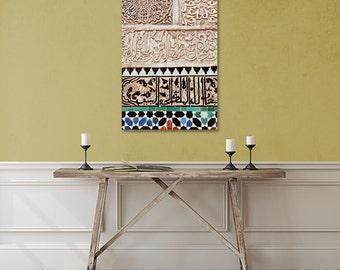 Morocco Large Canvas, Pattern, Fine Art Photography, Travel Decor, Ethnic Art, Moroccan Mosaic Tiles, Islamic Art, Marrakech, Canvas Print