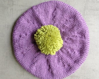 Hat, Beret, Children's Hat, UK Seller, Hand Knitted, Tam, Pure Wool