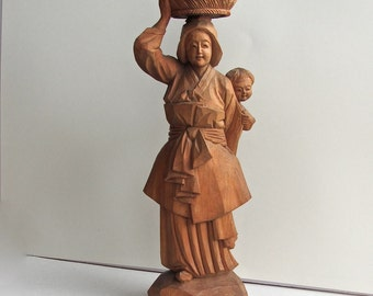 Chinese Boxwood Stature, Cultural Revolution, Peasant Woman with Child, Rare, OOAK,  Handcarved, Signed, One of Pair, BEST OFFER