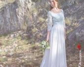 Long Wedding Dress, 50s Wedding Gown, White Bridal Dress, Blue Lace Dress, Chiffon Wedding Gown, Long Bidal Dress, Handmade Wedding Dress