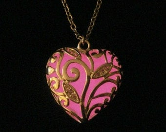 Pink Glowing Heart Necklace Glow In The Dark Handcrafted Necklace Pendant Silver (glows pink)