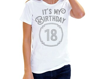 18th Birthday T Shirt - Black 18th Birthday Shirt, 18th Birthday Top, Happy Birthday Frame, 18th Birthday Party Shirt, Womens Birthday Shirt