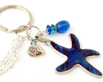 Eyeglass Lanyard, Eyeglass Chain, Beaded Lanyard, Starfish Lanyard, Eyeglass Leash, Keychain Necklace