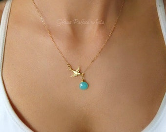 Gold Bird Necklace, Sparrow Necklace, Tiny Bird Necklace, Dainty Bird Necklace, Bird Jewelry, Flying Bird Necklace, Bird Charm Necklace