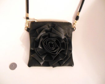 Vegan Cross Body Bag w Flower, Black Flower Purse, Black Faux Leather, CrossBody Bag, Shoulder Bag, Black Faux Leather Shoulder Bag w Flower