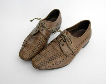 Vintage Shoes // Woven Leather Oxford Flats