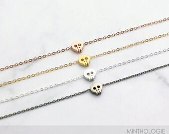 Tiny Skull Bracelet B18 • Dainty Layering Bracelet, Delicate Charm, Skeleton, Cute Skull, 14k Gold Fill, Rose Gold Fill, Sterling Silver