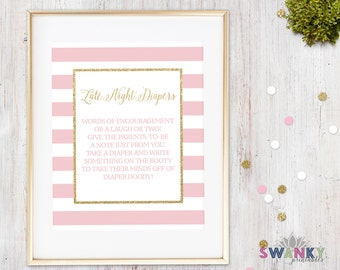 Late Night Diapers Game Sign, Pink and Gold Glitter Baby Shower Game, Printable Baby Shower Game, Pink and Gold Baby Shower Printable