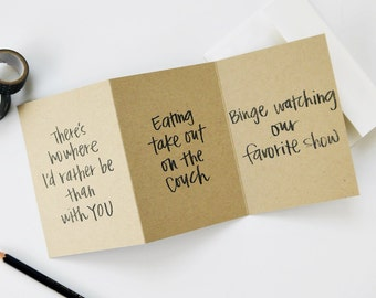 Funny Valentine's Day Card / Nowhere I'd Rather Be Binge Watching TV Love, Anniversary Card / Hand Lettering / Humor / Charitable Donation