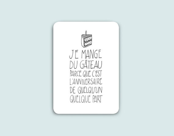 Postcard Birthday, Funny French Quote, Birthday postcard, funny postcard, humour, quote postcard, inspirational quote, gift coworker.