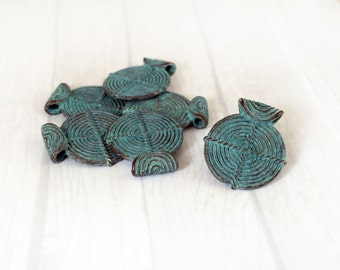 Ethnic Tribal Patina Pendant, Verdigris Green Patina Pendant, Double Sided Pendant, 35x40 mm Pendant