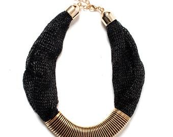 Shimmering Black Statement Necklace