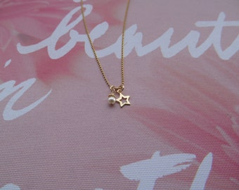 Gold filled pearl and star charm necklace- Star necklace- Star and pearl necklace