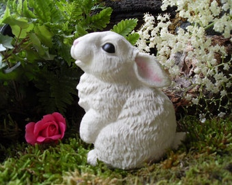 Rabbit Statue, White Rabbit Statue, Garden Rabbit,Outdoor Woodland Rabbit,  Rabbit Memorial