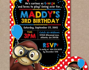Curious George Birthday Invitation, Curious George Birthday Invite, Curious George Birthday Party, 1st Birthday Party  (#756)