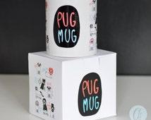 Pug mug, pug gift, coffee mug, 10 oz mug, stocking filler