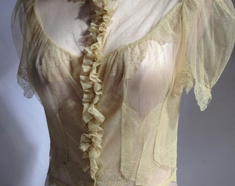 Victorian Netted Lace Camisole / Exquisite Detailing / Completely Sheer / MUSEUM QUALITY / Womens Small