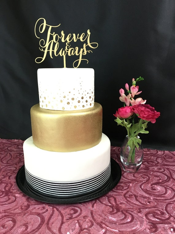 gold wedding cake topper ideas gold cake topper forever amp always wedding cake topper 14835
