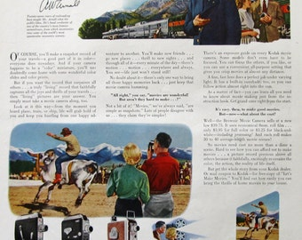 1953 Kodak Movie Camera Ad - Cine-Kodak Royal Magazine Camera - 1950s Streamliner Train Conductor - Rodeo - Vintage Photography Ads