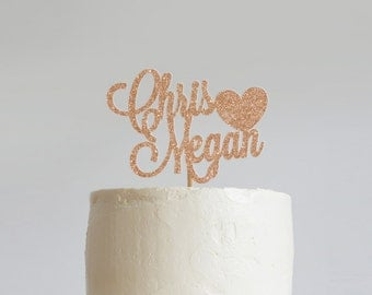 Personalized Heart Glitter Wedding Cake Topper, Custom Wedding Cake Topper, Mr and Mrs Cake Topper, Engagement Cake Topper
