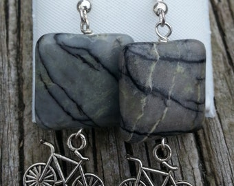 Bicycle and Pavement Earrings