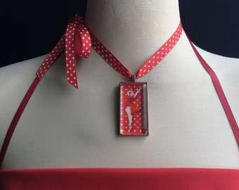 Retro necklace, Retro girl, Rockabilly jewelry, Pin up girl, red white, polka dot ribbon, lady in red, costume jewelry, retro pin up jewelry