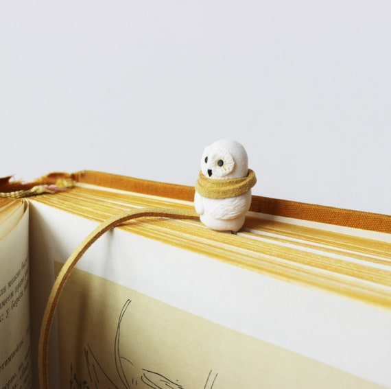 Harry Potter Owl bookmark White Owl Miniature Funny clay totem Gift for Bookworm, for Reader