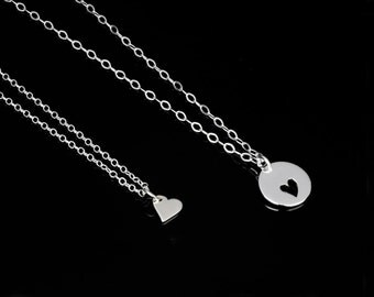 Silver Mother Daughter Necklace Set, Heart Charm Jewelry, Sterling Silver, Mom and 1 2 3 4 Daughters Necklace Set, Minimal Charm Necklaces