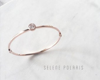 Rose gold bangle, Rose gold crystal bracelet, Minimal Classic bangle, bridesmaid bracelet, Thin Bangle Bracelet, Gift Gemstone Bangle