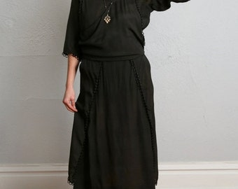 SALE- Antique Edwardian Black Button Dress 1910s