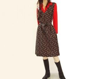 70s Sweater Dress 1970s Vintage Dress Vintage Knit Dress Floral Black Dress 70s Red Black Dress Vintage Mod Dress Heart Print Dress m