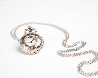 Silver watch necklace, clock necklace, watch necklace, pendant necklace, charm necklace, steampunk jewellery, bridesmaid gift