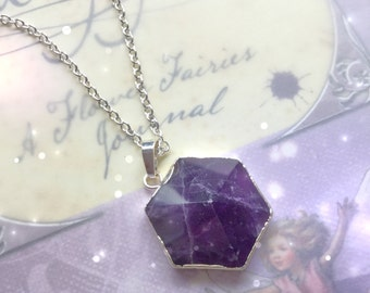 SALE Amethyst gemstone crystal point pendant, electroplated necklace