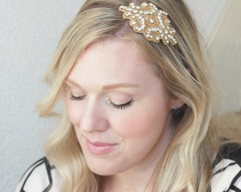Beaded Headband, Nude Rhinestone Studded Applique Headband, Art Deco Wedding Headband