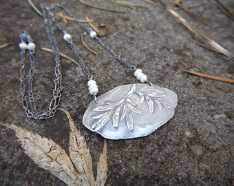 Artemisia absinthium - Wormwood Large Fine Silver Necklace with Pearl- Botanical Jewelry   by Quintessential Arts
