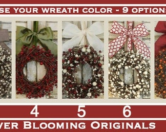 Fall Wreath - Autumn Berry Wreath - Custom Made - Mini Wreath - Choose Bow