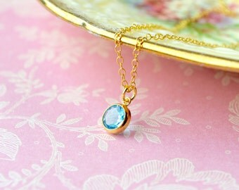 Swiss Blue Topaz Necklace, Gold Filled Necklace, Dainty 16 Inch Necklace, December Birthstone Jewelry, Blue Topaz Pendant, Gift for Women