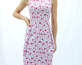 Sleeveless rose dress, knee length white dress, womens dress, office dress, pleated dress,