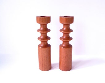 Gorgeous Sculptural Teak Candlesticks/ Turned Wood Candle Holders/ Danish Modern Wood Candle Holders/Mid Century Atomic Space Age/ MCM Decor