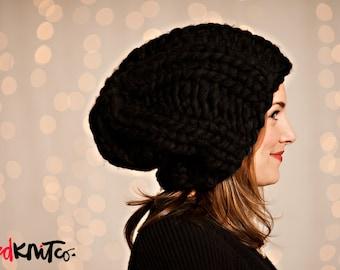 Ready to ship! BLACK DUBLIN hat...Vegan knit hat, hand knit, chunky knit, knit toque, knit beanie, knit hat, vegan knit, vegan gift.