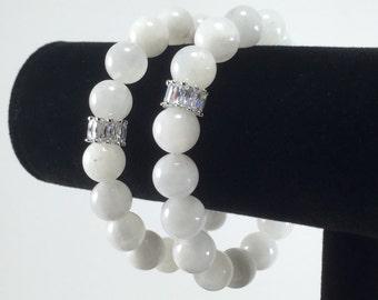Moonstone Bracelet/ white/ Moonstone/ gemstone/ Cubic Zirconia/ bracelet/ Summer/ Haute Couture/Jewelry