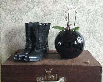 VINTAGE Cowboy boots with harness style buckles in black leather