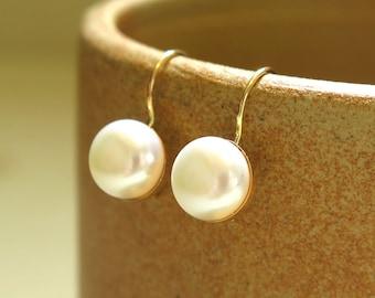 14K Gold Pearl Earrings - Wedding Earrings - Bridal Earrings - Wedding Jewelry - Pearl Earrings - Drop Pearl Earrings - White Pearl Earrings
