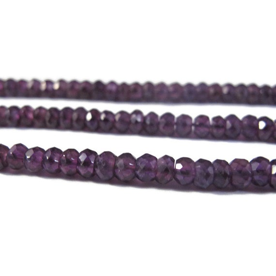 Special Dark Amethyst Beads, 3.5mm - 4mm Faceted Rondelles, 6.5 Inch Strand, Gemstone Beads, For Necklace, Jewelry Supplies (R-Am1)